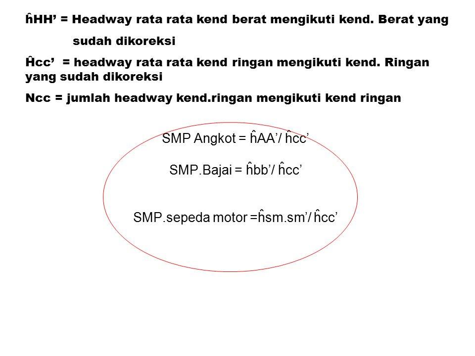 SMP Angkot = ĥAA'/ ĥcc' SMP.Bajai = ĥbb'/ ĥcc' SMP.sepeda motor =ĥsm.sm'/ ĥcc' ĥHH' = Headway rata rata kend berat mengikuti kend.