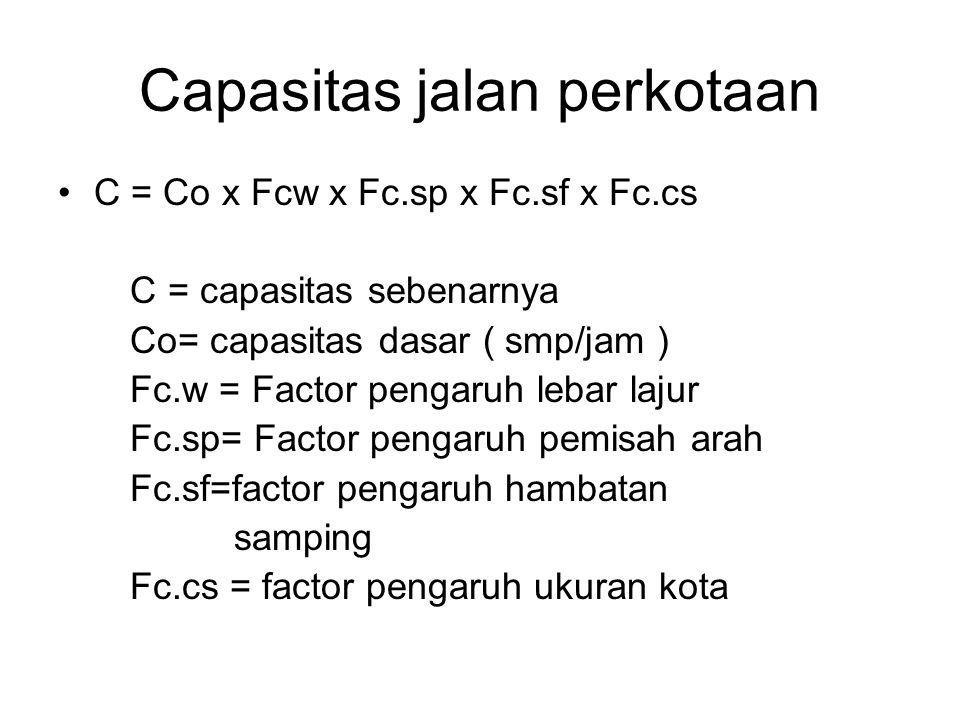 Capasitas jalan perkotaan C = Co x Fcw x Fc.sp x Fc.sf x Fc.cs C = capasitas sebenarnya Co= capasitas dasar ( smp/jam ) Fc.w = Factor pengaruh lebar lajur Fc.sp= Factor pengaruh pemisah arah Fc.sf=factor pengaruh hambatan samping Fc.cs = factor pengaruh ukuran kota