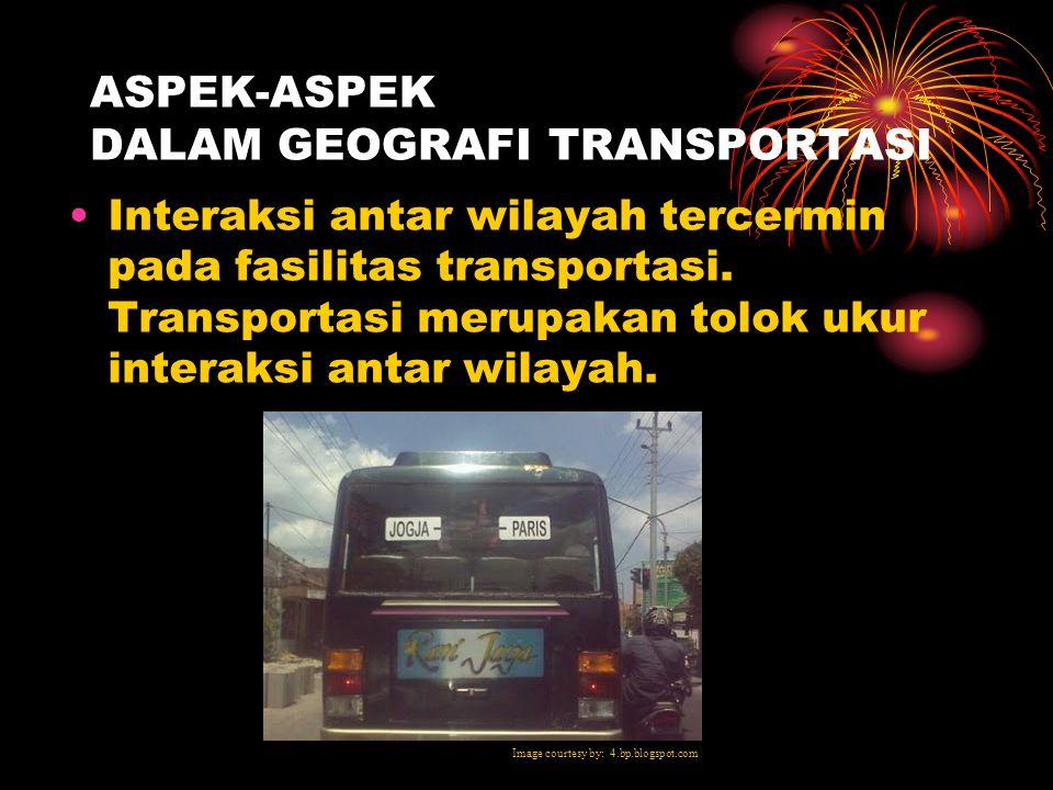 ASPEK-ASPEK DALAM GEOGRAFI TRANSPORTASI Meningkatnya aktivitas penduduk mengakibatkan aliran barang dan manusia antar tempat. Hal ini akan mengakibatk