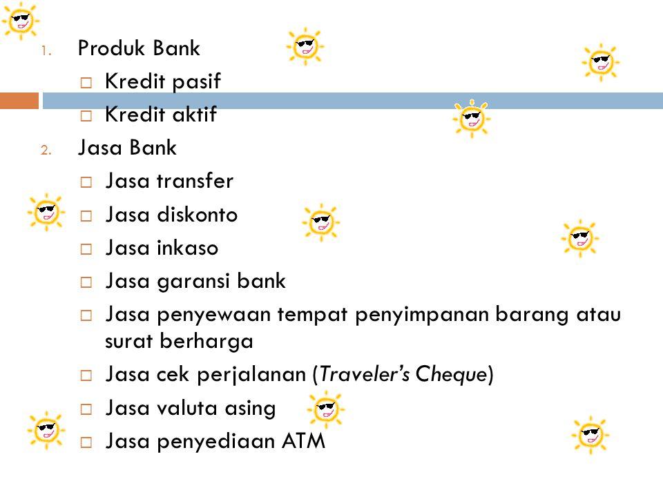 1.Produk Bank  Kredit pasif  Kredit aktif 2.