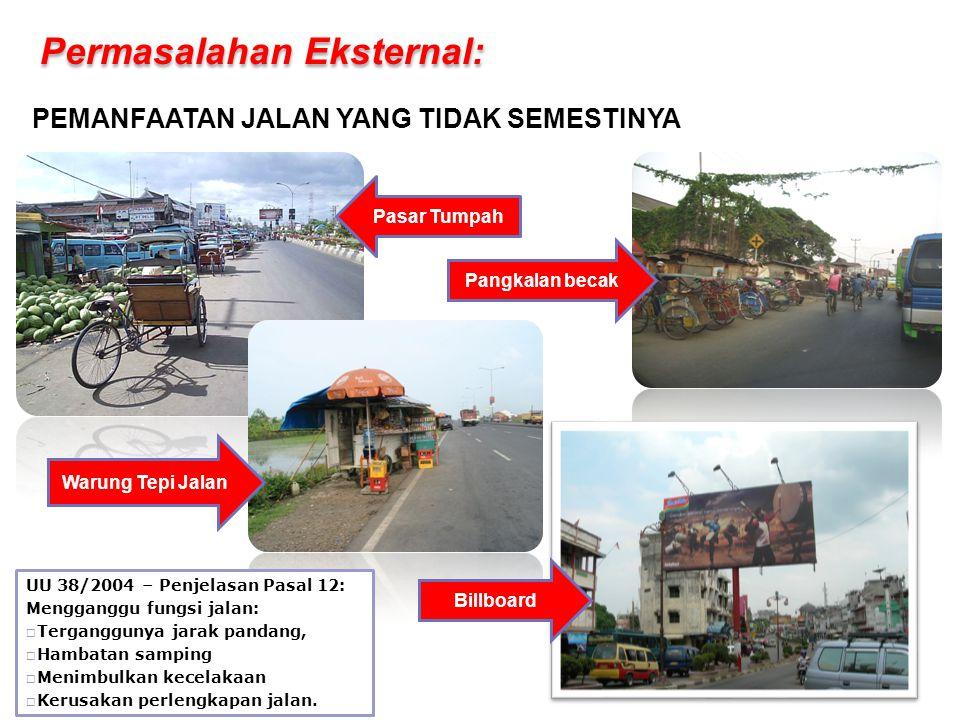 UU 38/2004 – Penjelasan Pasal 12: Mengganggu fungsi jalan:  Terganggunya jarak pandang,  Hambatan samping  Menimbulkan kecelakaan  Kerusakan perlengkapan jalan.