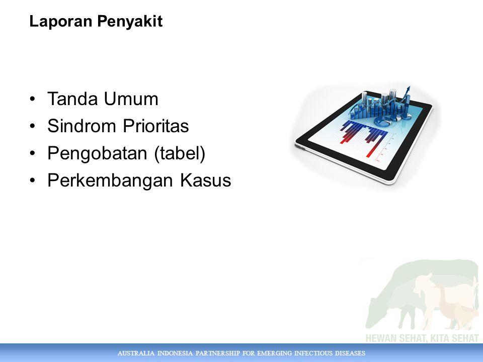 AUSTRALIA INDONESIA PARTNERSHIP FOR EMERGING INFECTIOUS DISEASES Laporan Penyakit Tanda Umum Sindrom Prioritas Pengobatan (tabel) Perkembangan Kasus
