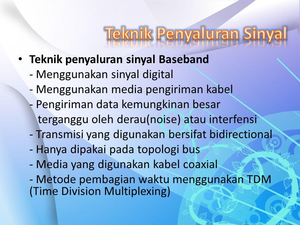 Teknik penyaluran sinyal Baseband - Menggunakan sinyal digital - Menggunakan media pengiriman kabel - Pengiriman data kemungkinan besar terganggu oleh