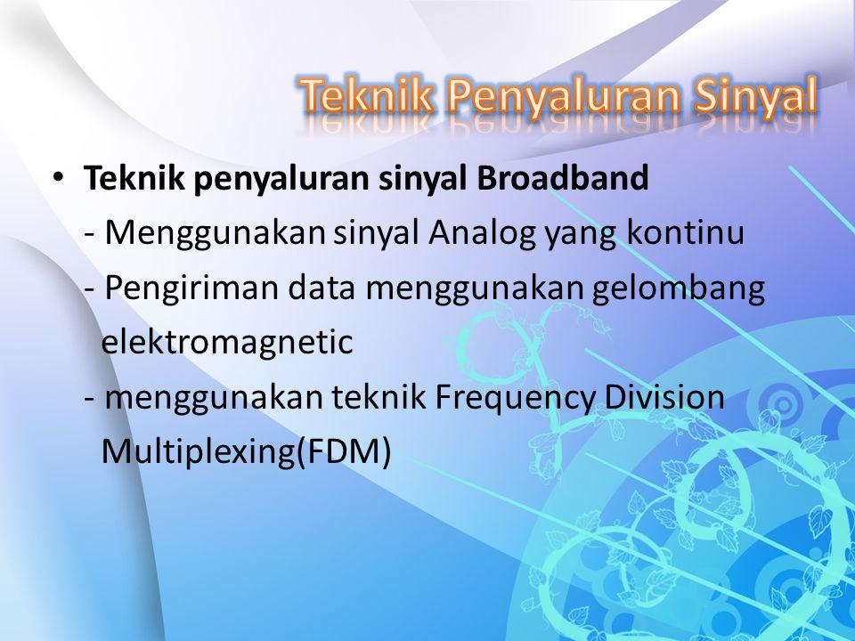 Teknik penyaluran sinyal Broadband - Menggunakan sinyal Analog yang kontinu - Pengiriman data menggunakan gelombang elektromagnetic - menggunakan tekn