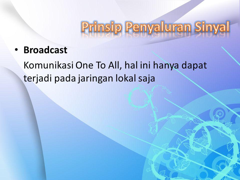 Broadcast Komunikasi One To All, hal ini hanya dapat terjadi pada jaringan lokal saja