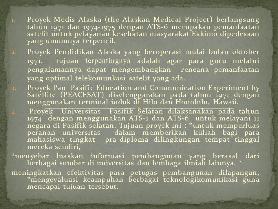 1. Proyek Medis Alaska (the Alaskan Medical Project) berlangsung tahun 1971 dan 1974-1975 dengan ATS-6 merupakan pemanfaatan satelit untuk pelayanan k