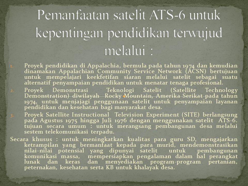 1. Proyek pendidikan di Appalachia, bermula pada tahun 1974 dan kemudian dinamakan Appalachian Community Service Network (ACSN) bertujuan untuk mempel