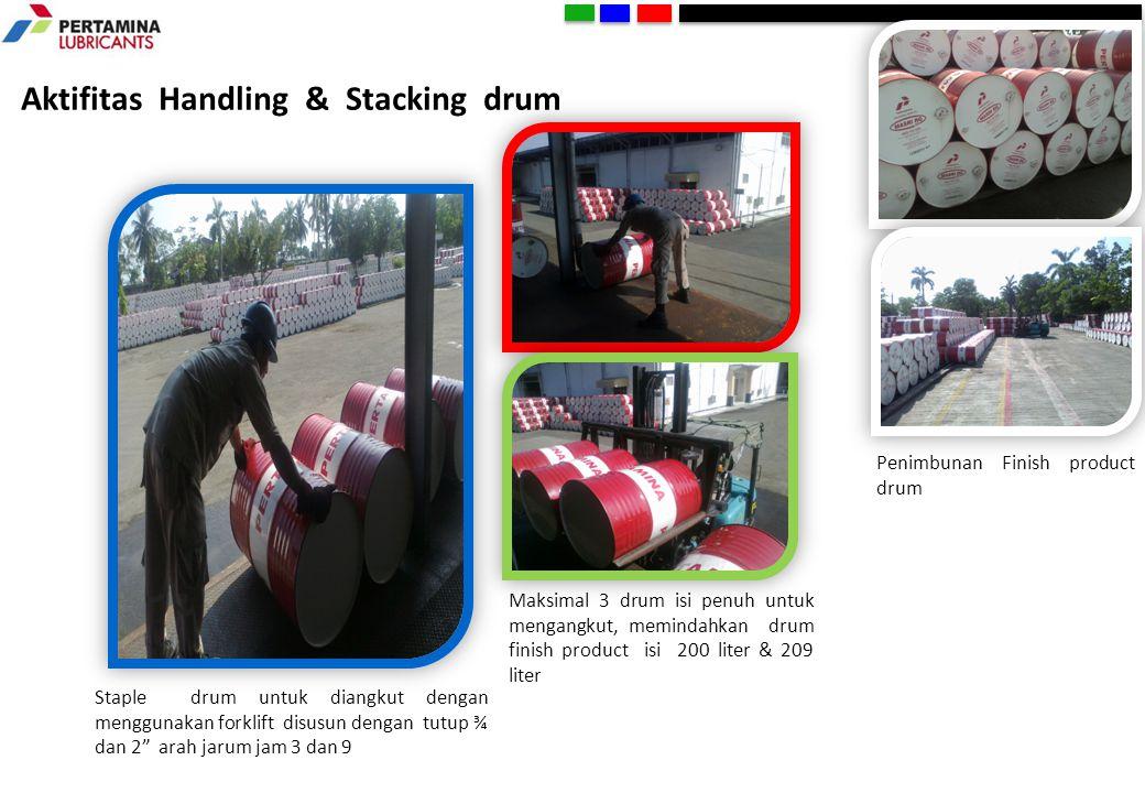 """Aktifitas Handling & Stacking drum Staple drum untuk diangkut dengan menggunakan forklift disusun dengan tutup ¾ dan 2"""" arah jarum jam 3 dan 9 Maksima"""