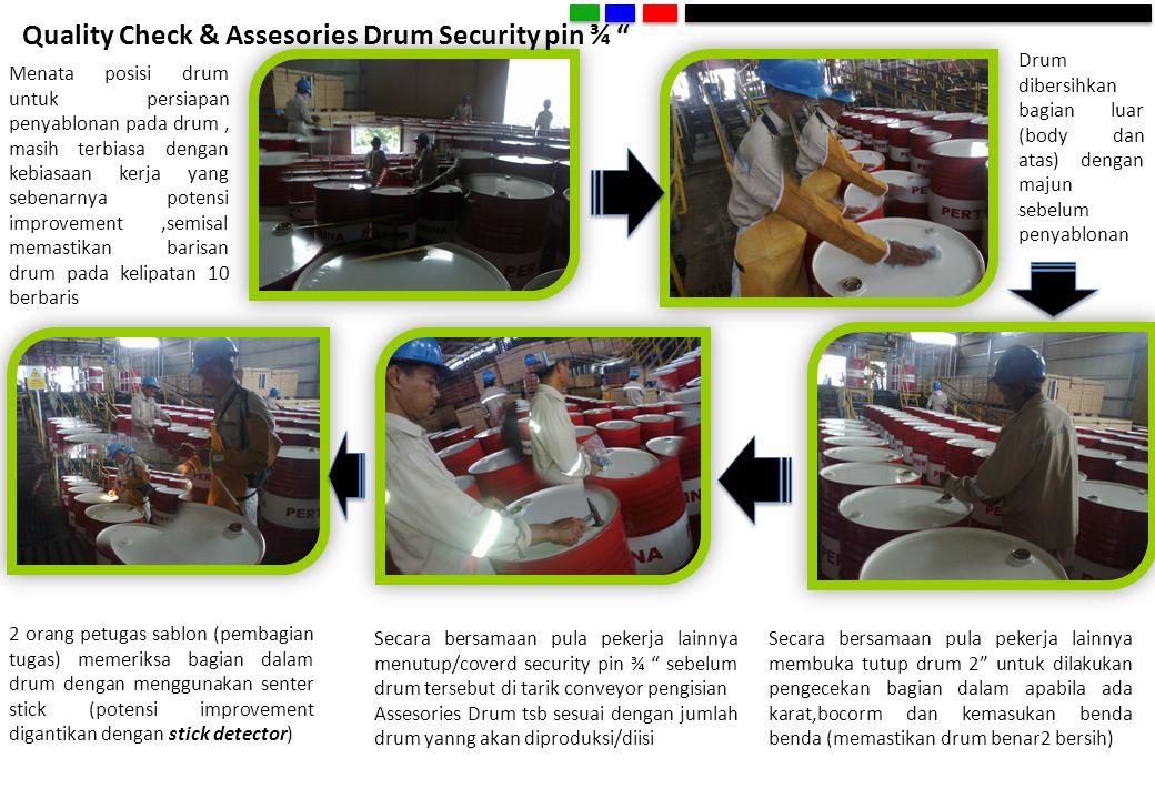 """Quality Check & Assesories Drum Security pin ¾ """" Menata posisi drum untuk persiapan penyablonan pada drum, masih terbiasa dengan kebiasaan kerja yang"""