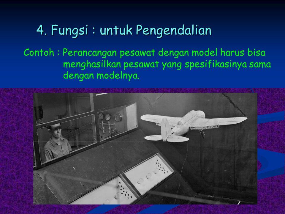 4. Fungsi : untuk Pengendalian Contoh : Perancangan pesawat dengan model harus bisa menghasilkan pesawat yang spesifikasinya sama dengan modelnya.