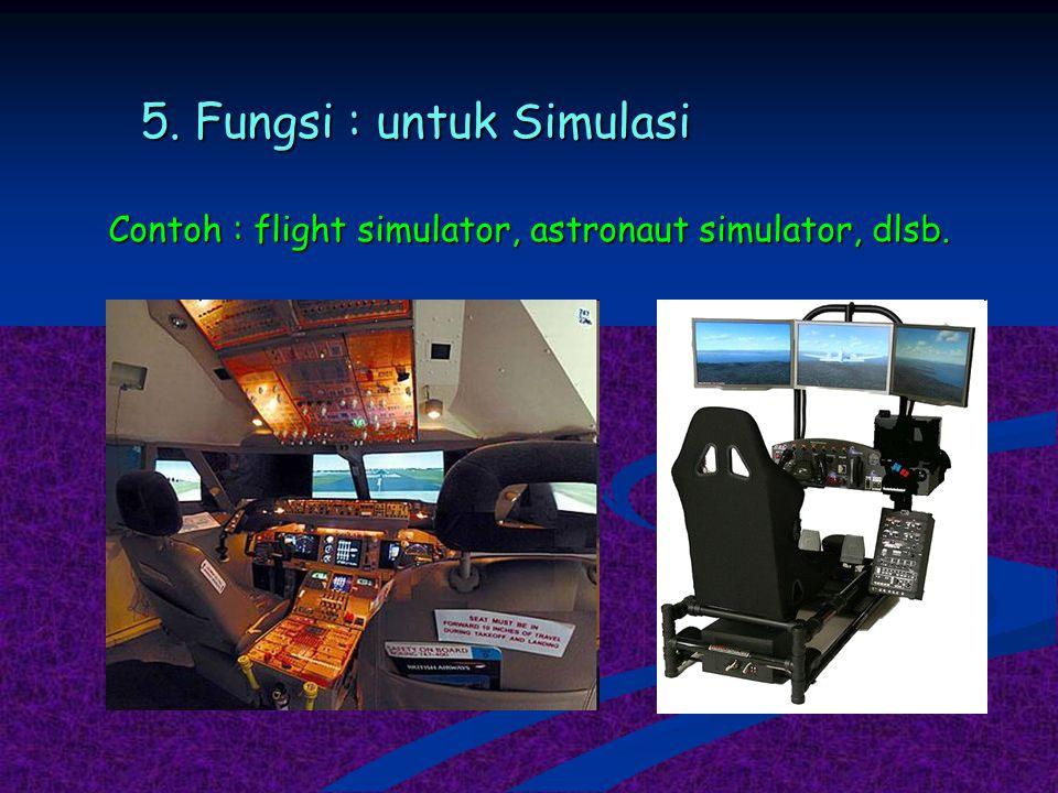 5. Fungsi : untuk Simulasi Contoh : flight simulator, astronaut simulator, dlsb.