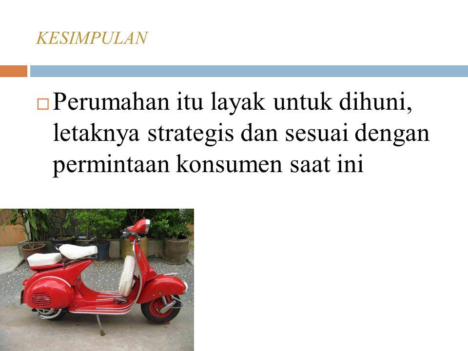 KESIMPULAN  Perumahan itu layak untuk dihuni, letaknya strategis dan sesuai dengan permintaan konsumen saat ini