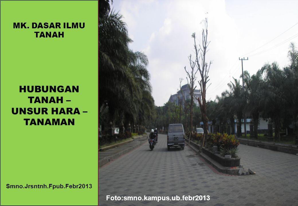 MK. DASAR ILMU TANAH HUBUNGAN TANAH – UNSUR HARA – TANAMAN Smno.Jrsntnh.Fpub.Febr2013 Foto:smno.kampus.ub.febr2013