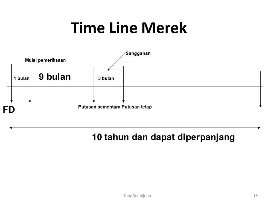 Time Line Merek FD 1 bulan Mulai pemeriksaan 9 bulan Putusan sementara 3 bulan Putusan tetap Sanggahan 10 tahun dan dapat diperpanjang 15Tony Soebijon
