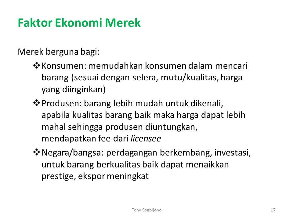 Faktor Ekonomi Merek Merek berguna bagi:  Konsumen: memudahkan konsumen dalam mencari barang (sesuai dengan selera, mutu/kualitas, harga yang diingin