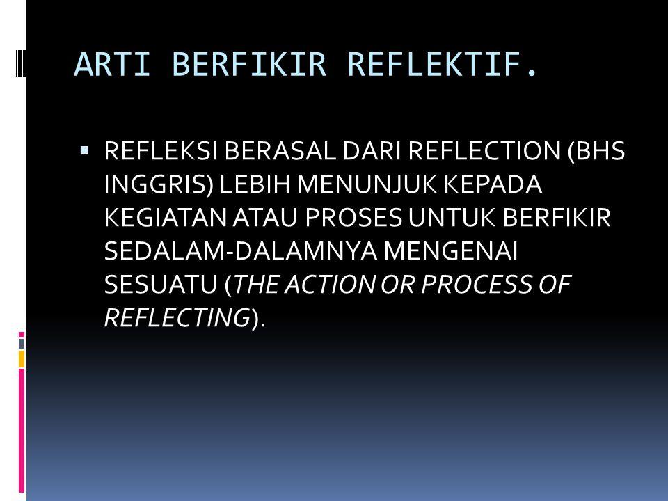 ARTI BERFIKIR REFLEKTIF.  REFLEKSI BERASAL DARI REFLECTION (BHS INGGRIS) LEBIH MENUNJUK KEPADA KEGIATAN ATAU PROSES UNTUK BERFIKIR SEDALAM-DALAMNYA M