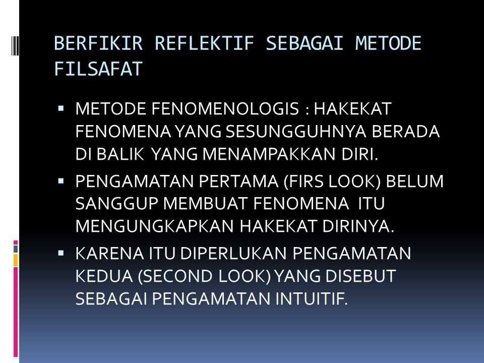 BERFIKIR REFLEKTIF SEBAGAI METODE FILSAFAT  METODE FENOMENOLOGIS : HAKEKAT FENOMENA YANG SESUNGGUHNYA BERADA DI BALIK YANG MENAMPAKKAN DIRI.  PENGAM