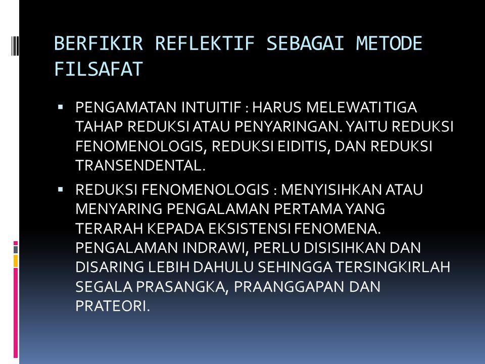 BERFIKIR REFLEKTIF SEBAGAI METODE FILSAFAT  PENGAMATAN INTUITIF : HARUS MELEWATI TIGA TAHAP REDUKSI ATAU PENYARINGAN. YAITU REDUKSI FENOMENOLOGIS, RE