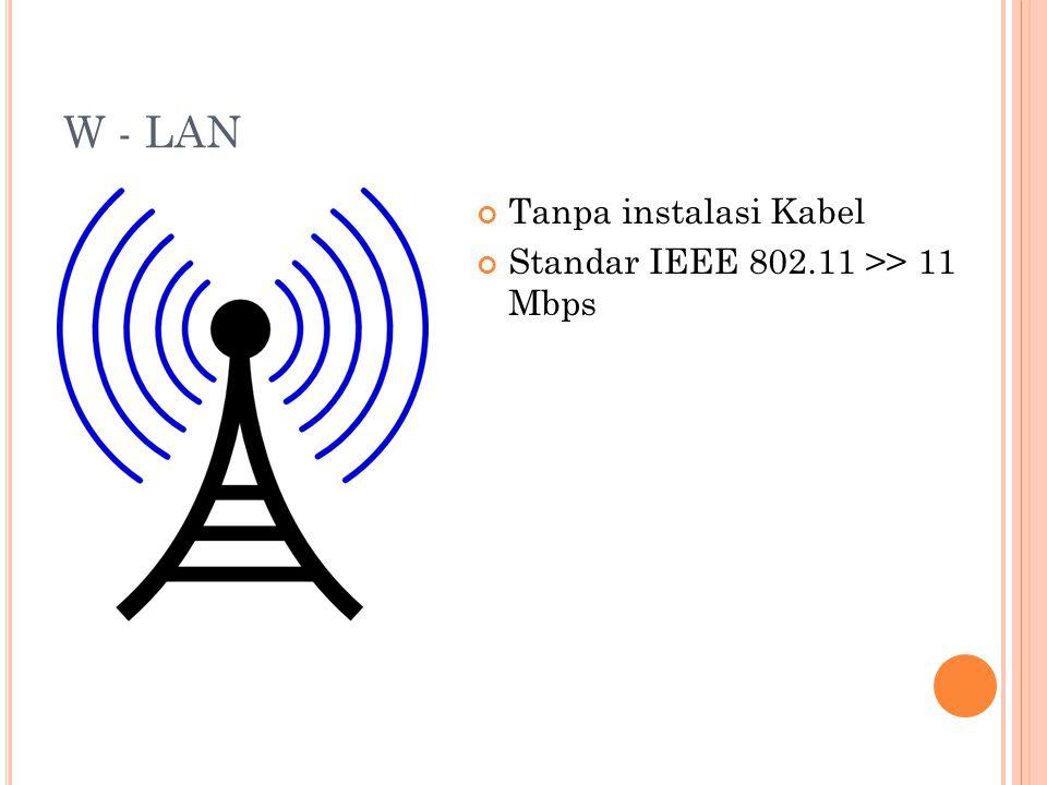 W - LAN Tanpa instalasi Kabel Standar IEEE 802.11 >> 11 Mbps