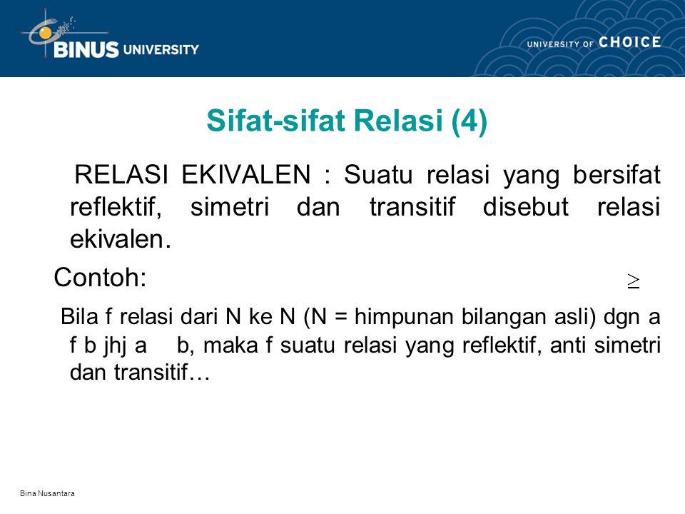 Bina Nusantara Sifat-sifat Relasi (3) RELASI TRANSITIF : Suatu relasi f: A  A dikatakan transitif bila a f b dan b f c maka a f c (bila a berelasi dg
