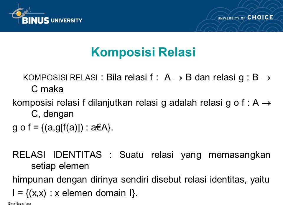 Bina Nusantara Penggambaran Relasi Diagram Panah, Grafik Kartesius, Graph Relasi.. Berikan masing-masing contoh! INVERS RELASI : Bila relasi f : A  B
