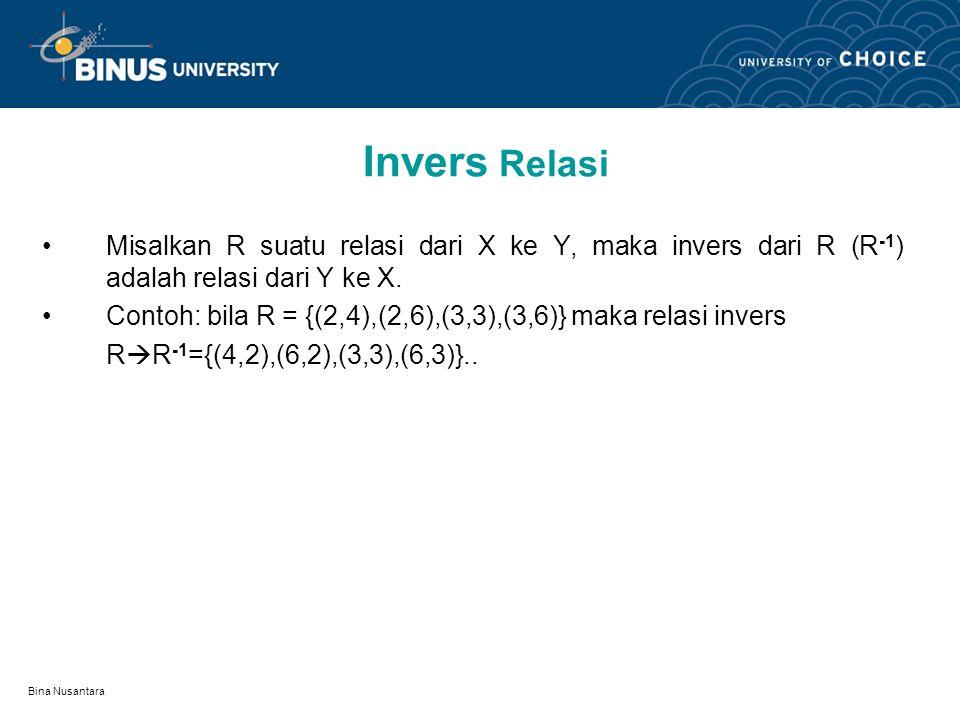 Bina Nusantara Komposisi Relasi KOMPOSISI RELASI : Bila relasi f : A  B dan relasi g : B  C maka komposisi relasi f dilanjutkan relasi g adalah rela
