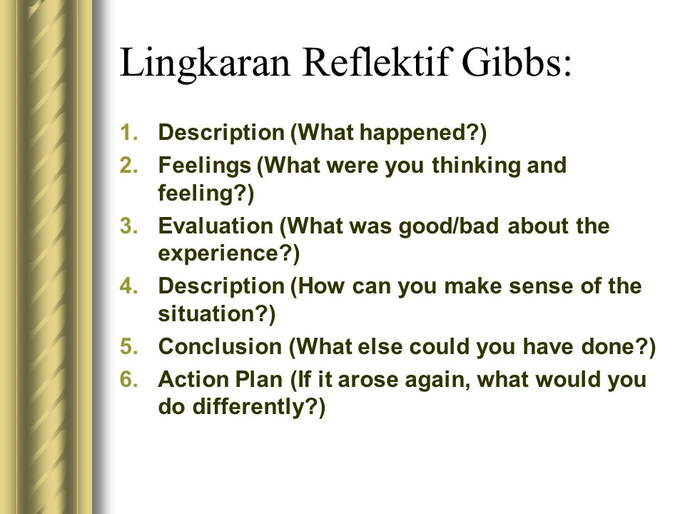 Lingkaran Reflektif Gibbs: 1.Description (What happened?) 2.Feelings (What were you thinking and feeling?) 3.Evaluation (What was good/bad about the e
