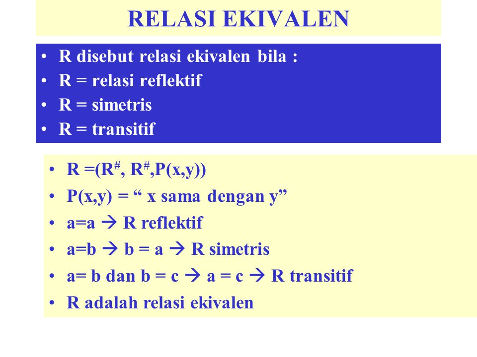 "RELASI EKIVALEN R disebut relasi ekivalen bila : R = relasi reflektif R = simetris R = transitif R =(R #, R #,P(x,y)) P(x,y) = "" x sama dengan y"" a=a"