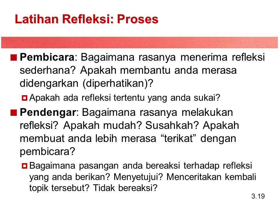 3.19 Latihan Refleksi: Proses Pembicara: Bagaimana rasanya menerima refleksi sederhana? Apakah membantu anda merasa didengarkan (diperhatikan)?  Apak