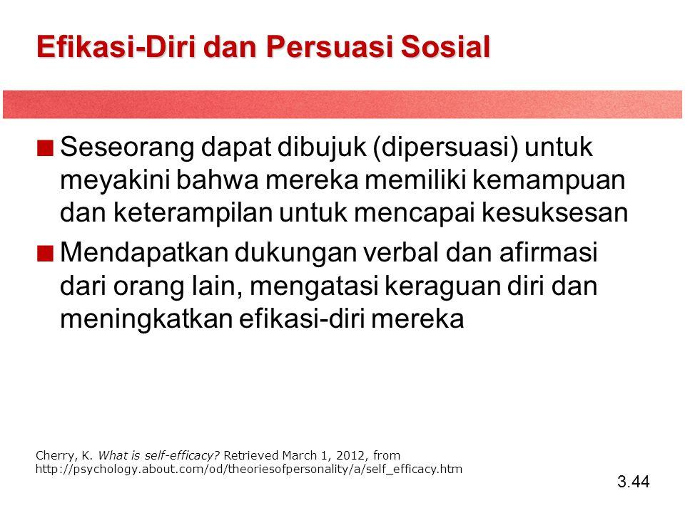 3.44 Efikasi-Diri dan Persuasi Sosial Seseorang dapat dibujuk (dipersuasi) untuk meyakini bahwa mereka memiliki kemampuan dan keterampilan untuk menca