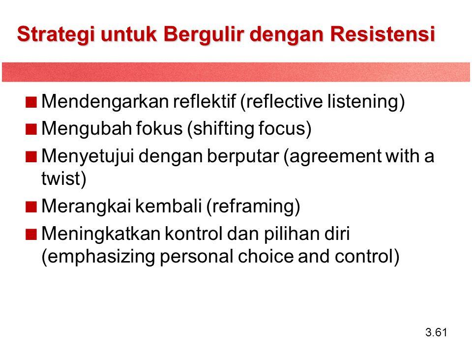 3.61 Strategi untuk Bergulir dengan Resistensi Mendengarkan reflektif (reflective listening) Mengubah fokus (shifting focus) Menyetujui dengan berputa