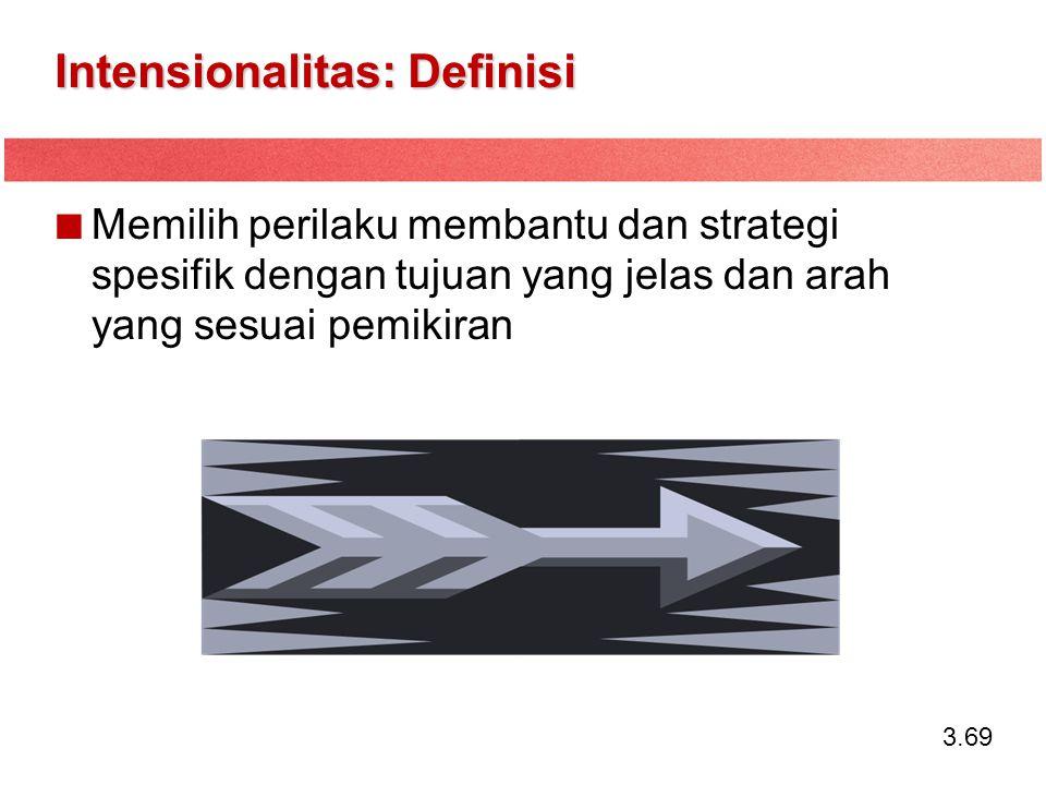 3.69 Intensionalitas: Definisi Memilih perilaku membantu dan strategi spesifik dengan tujuan yang jelas dan arah yang sesuai pemikiran