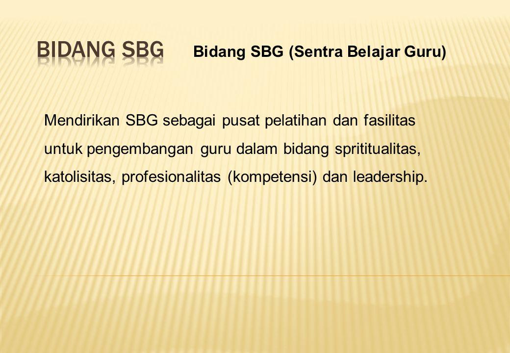 Mendirikan SBG sebagai pusat pelatihan dan fasilitas untuk pengembangan guru dalam bidang sprititualitas, katolisitas, profesionalitas (kompetensi) dan leadership.