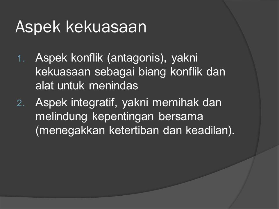 Aspek kekuasaan 1. Aspek konflik (antagonis), yakni kekuasaan sebagai biang konflik dan alat untuk menindas 2. Aspek integratif, yakni memihak dan mel