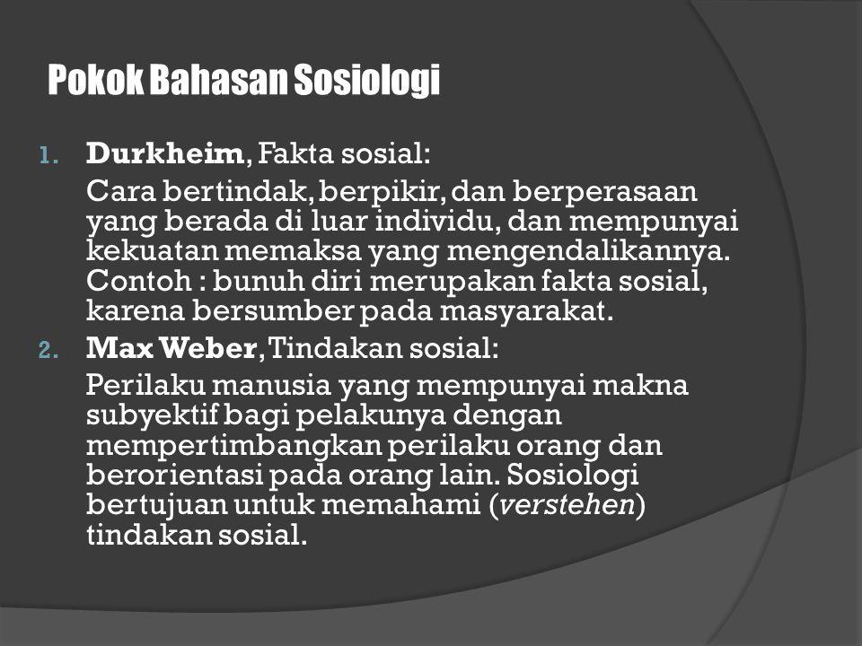 Pokok Bahasan Sosiologi 1. Durkheim, Fakta sosial: Cara bertindak, berpikir, dan berperasaan yang berada di luar individu, dan mempunyai kekuatan mema