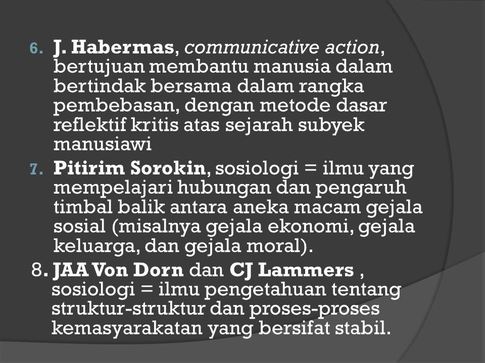 6. J. Habermas, communicative action, bertujuan membantu manusia dalam bertindak bersama dalam rangka pembebasan, dengan metode dasar reflektif kritis