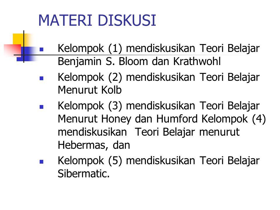 MATERI DISKUSI Kelompok (1) mendiskusikan Teori Belajar Benjamin S.