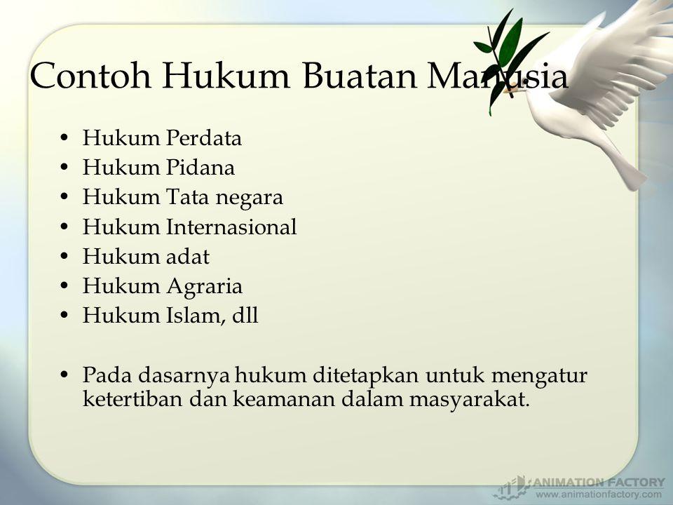 Contoh Hukum Buatan Manusia Hukum Perdata Hukum Pidana Hukum Tata negara Hukum Internasional Hukum adat Hukum Agraria Hukum Islam, dll Pada dasarnya h
