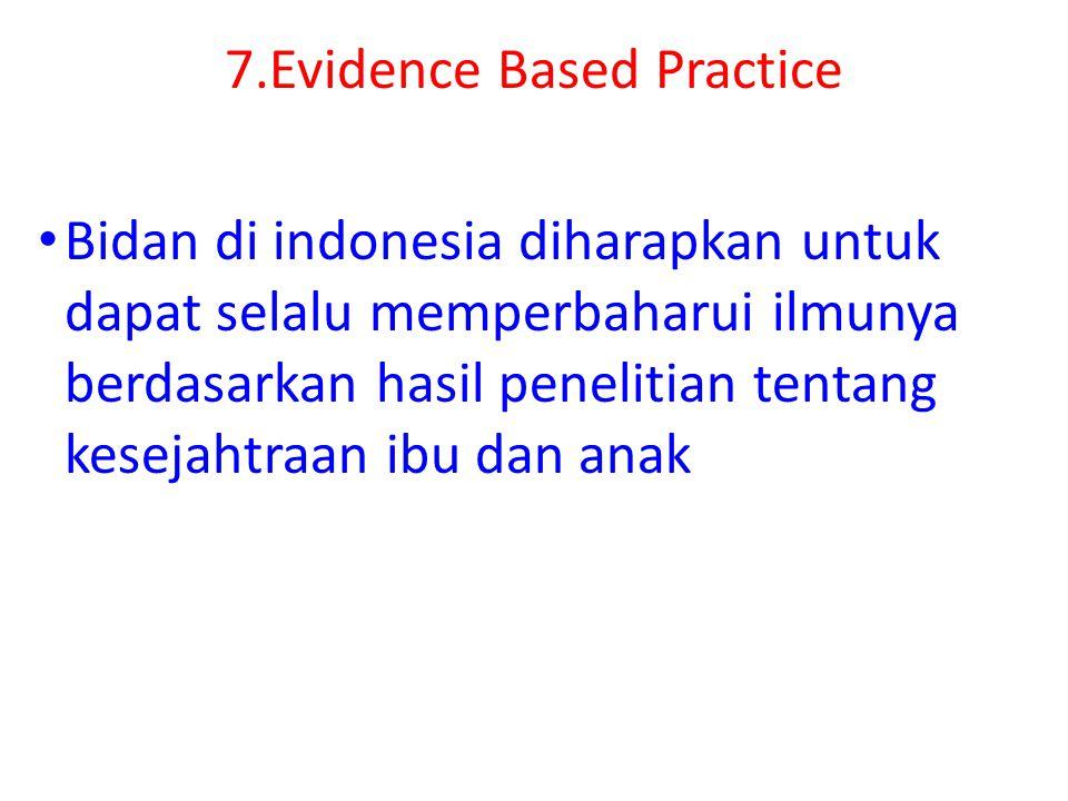 7.Evidence Based Practice Bidan di indonesia diharapkan untuk dapat selalu memperbaharui ilmunya berdasarkan hasil penelitian tentang kesejahtraan ibu