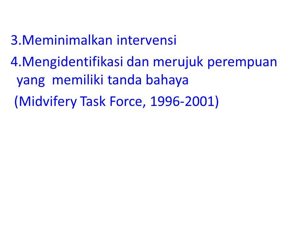 3.Meminimalkan intervensi 4.Mengidentifikasi dan merujuk perempuan yang memiliki tanda bahaya (Midvifery Task Force, 1996-2001)