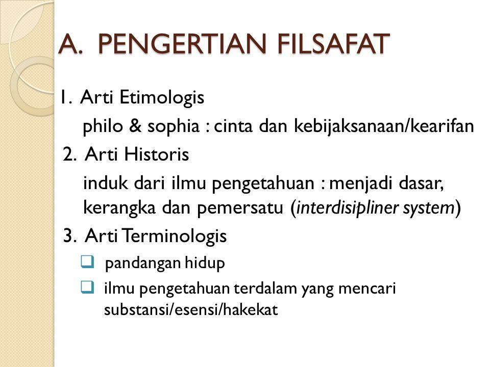 A.PENGERTIAN FILSAFAT 1. Arti Etimologis philo & sophia : cinta dan kebijaksanaan/kearifan 2.