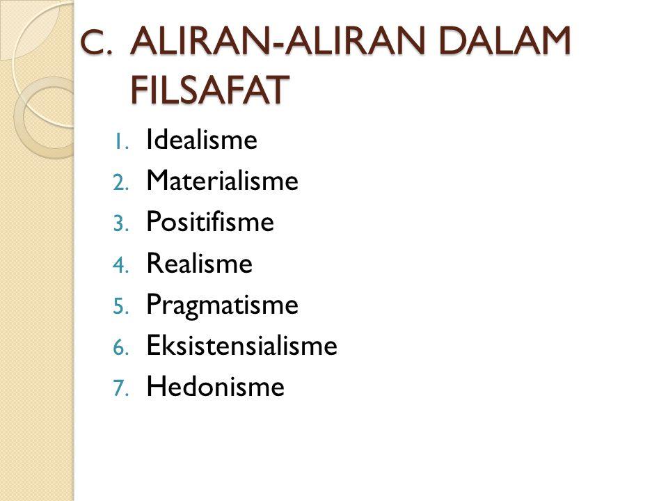 C.ALIRAN-ALIRAN DALAM FILSAFAT 1. Idealisme 2. Materialisme 3.
