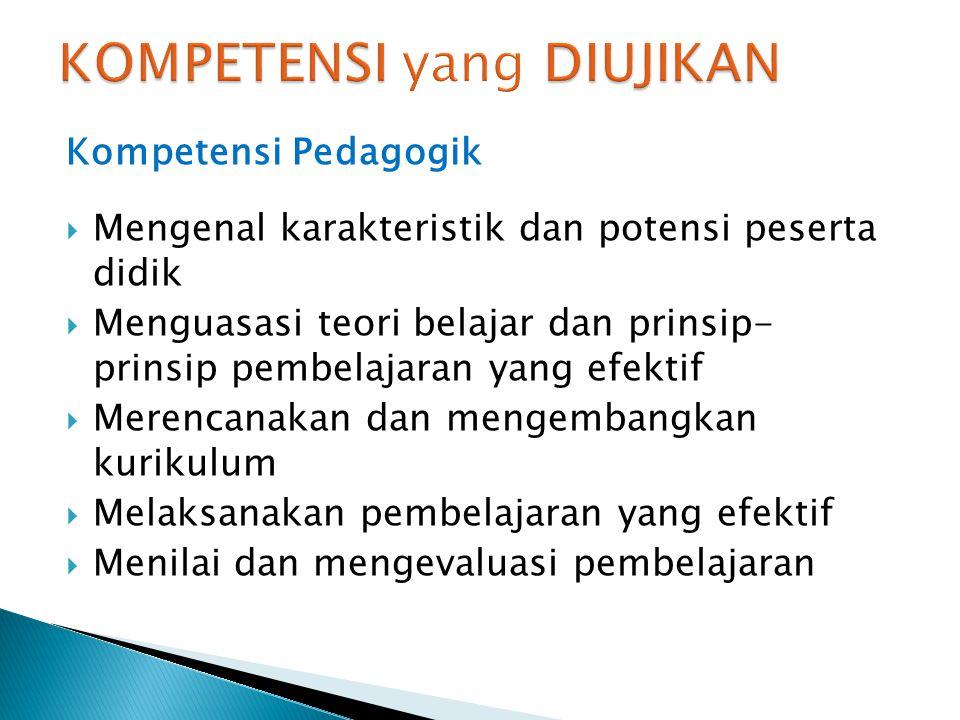 Kompetensi Pedagogik  Mengenal karakteristik dan potensi peserta didik  Menguasasi teori belajar dan prinsip- prinsip pembelajaran yang efektif  Me