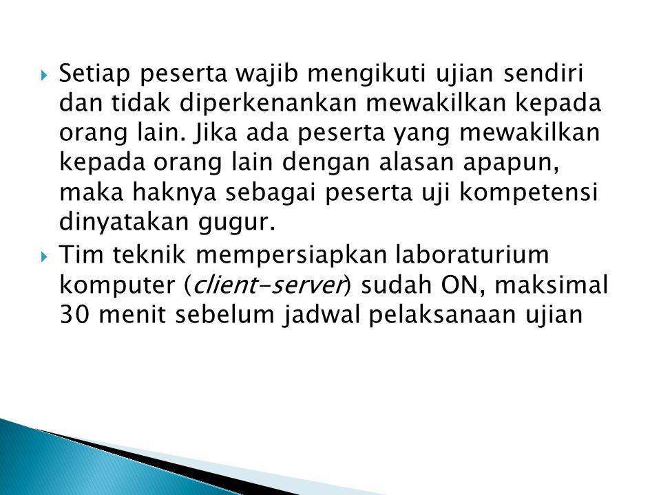  Setiap peserta wajib mengikuti ujian sendiri dan tidak diperkenankan mewakilkan kepada orang lain. Jika ada peserta yang mewakilkan kepada orang lai