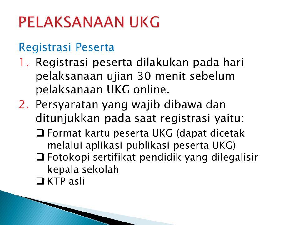 Registrasi Peserta 1.Registrasi peserta dilakukan pada hari pelaksanaan ujian 30 menit sebelum pelaksanaan UKG online. 2.Persyaratan yang wajib dibawa