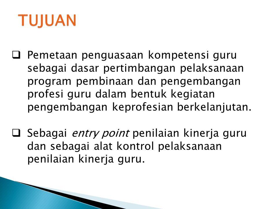  Pemetaan penguasaan kompetensi guru sebagai dasar pertimbangan pelaksanaan program pembinaan dan pengembangan profesi guru dalam bentuk kegiatan pen