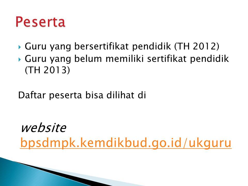  Guru yang bersertifikat pendidik (TH 2012)  Guru yang belum memiliki sertifikat pendidik (TH 2013) Daftar peserta bisa dilihat di website bpsdmpk.k