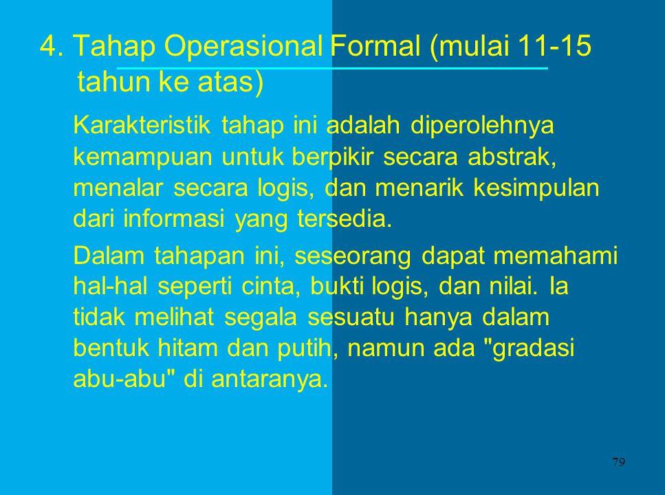3. Tahap Operasional Kongkrit (7-11 tahun), mempunyai ciri berupa penggunaan logika yang memadai. Proses-proses penting selama tahapan ini adalah: Pen