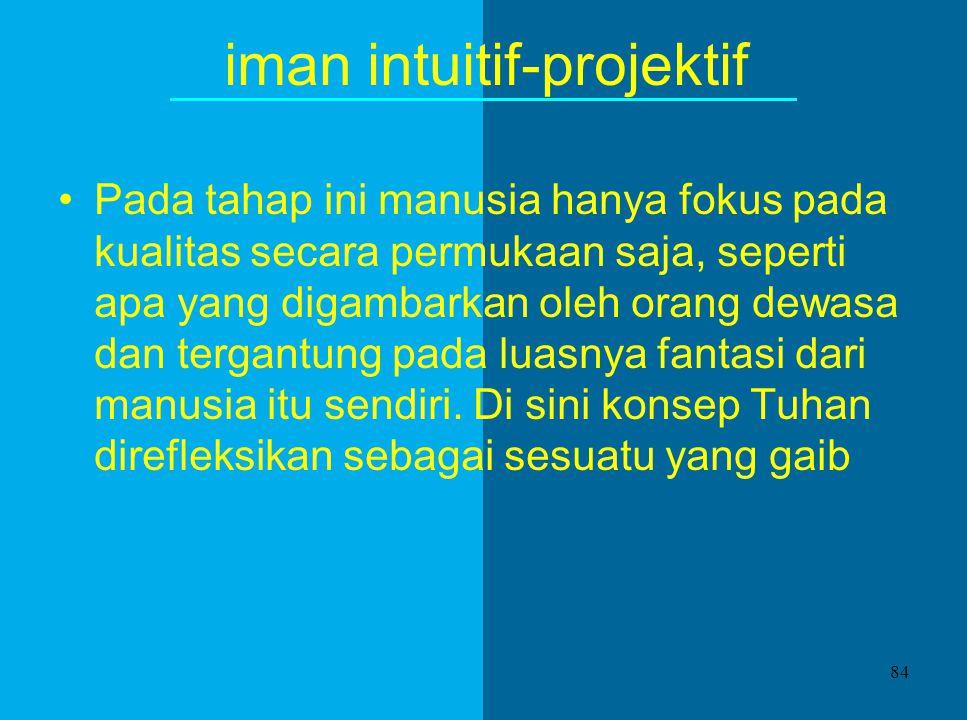 Perkembangan Iman 1.iman intuitif-projektif (18-24 bulan - 7 tahun) 2.iman mitis-literal (7 - 12 tahun) 3.iman sintetik-konvensional (usia remaja dan