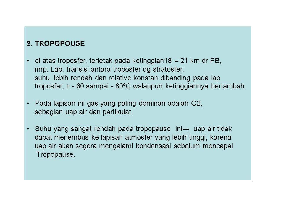 2. TROPOPOUSE di atas troposfer, terletak pada ketinggian18 – 21 km dr PB, mrp. Lap. transisi antara troposfer dg stratosfer. suhu lebih rendah dan re